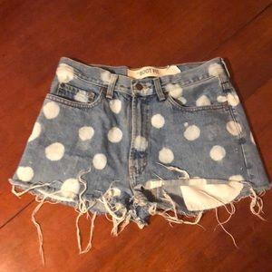 Polka dot high wasted jean shorts